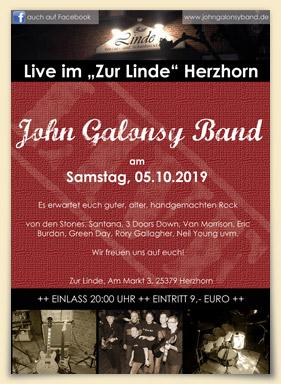 Flyer Auftritt John Galonsy Band